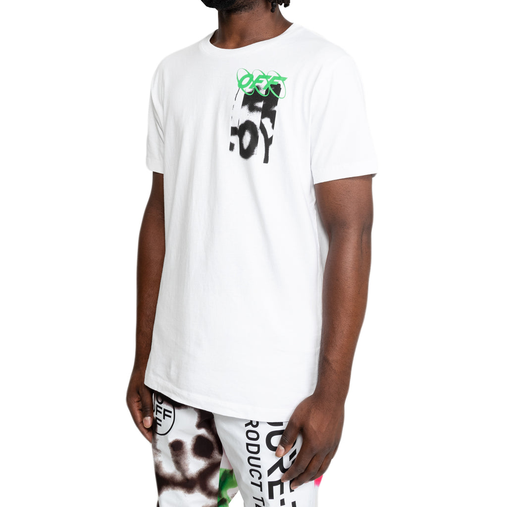 Off-White FW19 Spray Blurred S/S Slim Tee, White/Multi