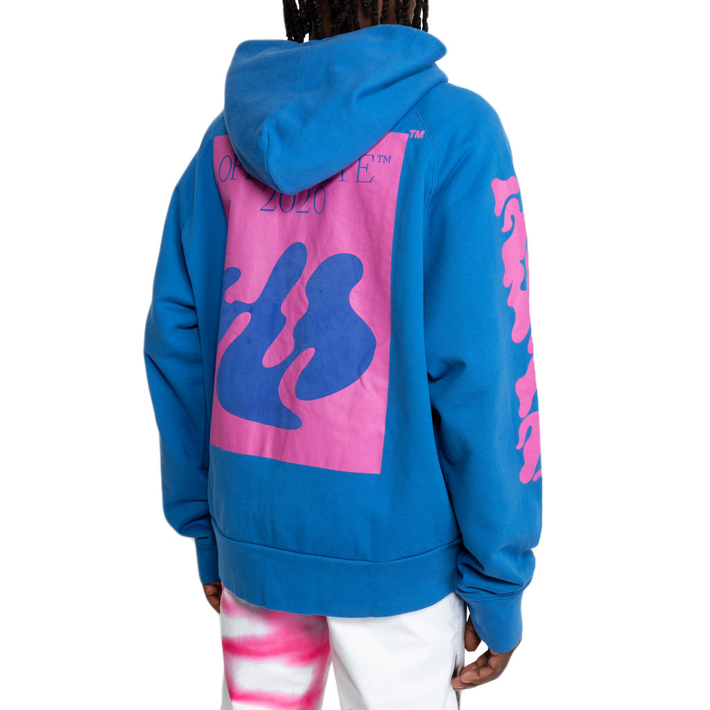 Off-White FW19 Shape of Double Zip Hoodie, Blue/Fuchsia