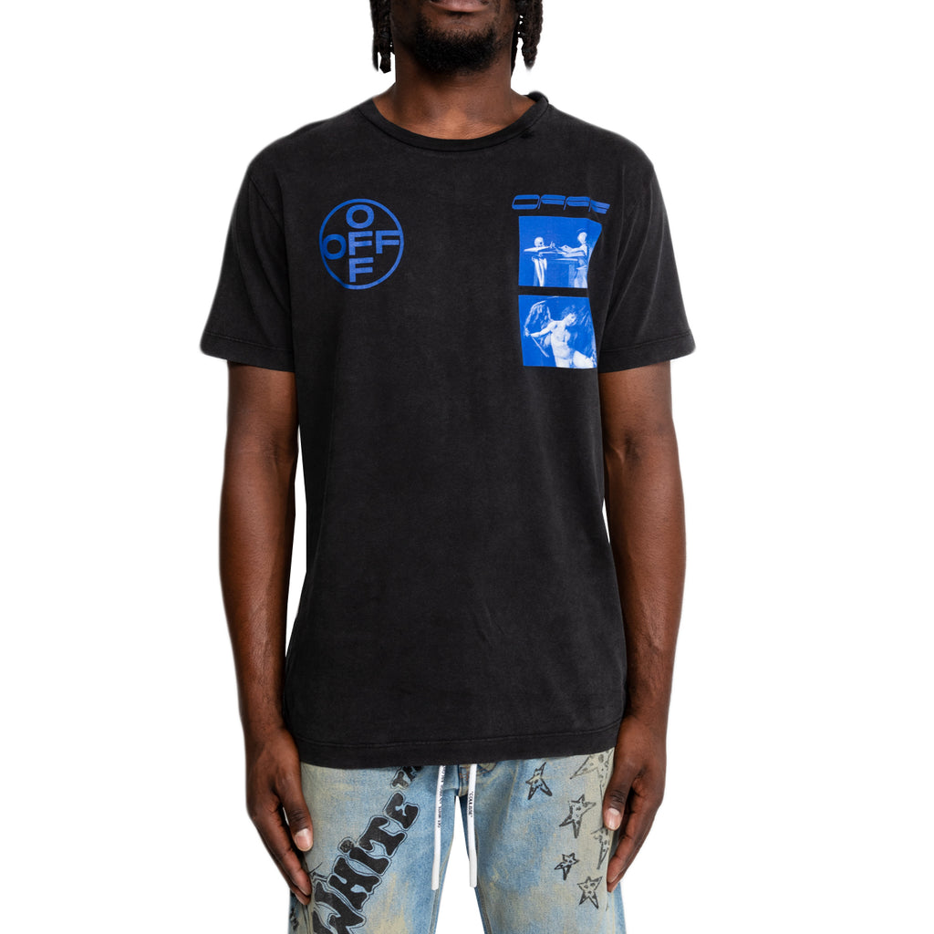 Off-White FW19 Hardcore Carav S/S Slim Tee, Black/Blue