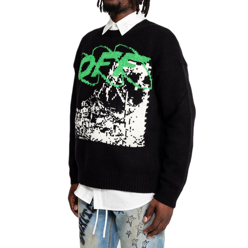 Off-White FW19 Ruined Factory Knit Crewneck , Black/White