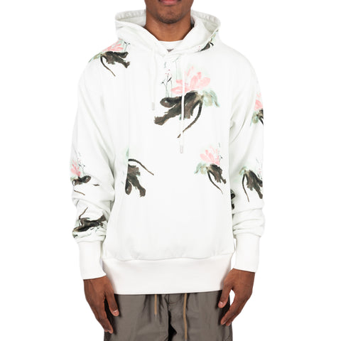 Feng Chen Wang FW19 Hand Painted Lotus Print Hoodie, White