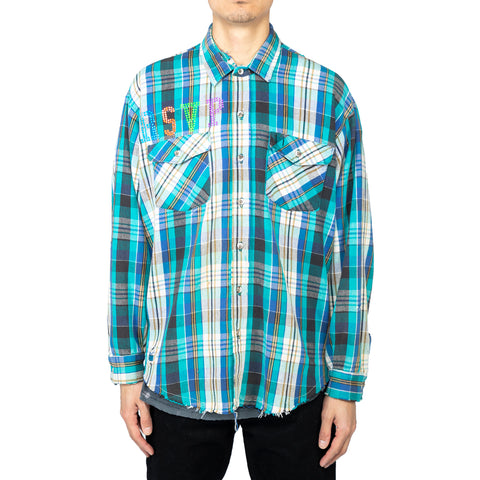 Ales Grey x RSVP Gallery Vintage Flannel #3, Turquoise/Blue