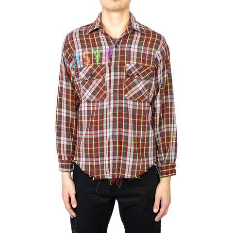 Ales Grey x RSVP Gallery Vintage Flannel #2, Burgundy/Grey
