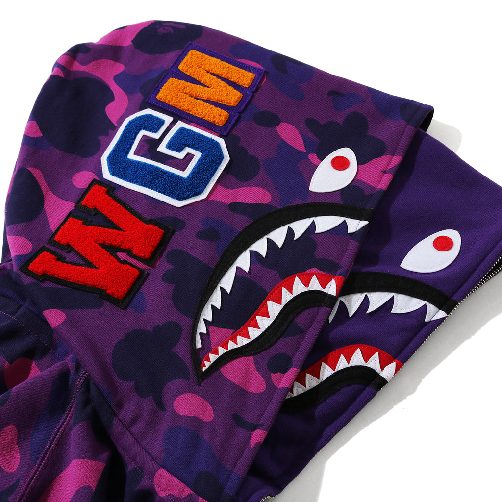 Bape FW20 Color Camo Shark Wide Full Zip Double Hoodie, Purple