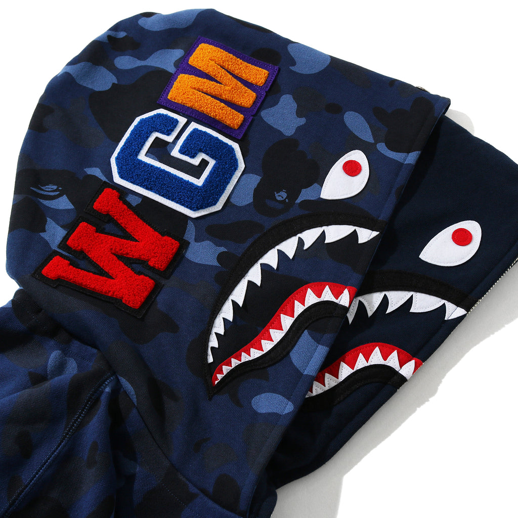 Bape FW20 Color Camo Shark Wide Full Zip Double Hoodie, Navy