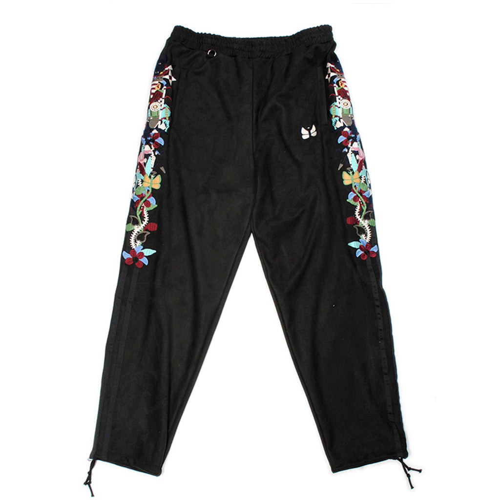 Doublet FW20 Chaos Embroidery Suede Track Pants, Black