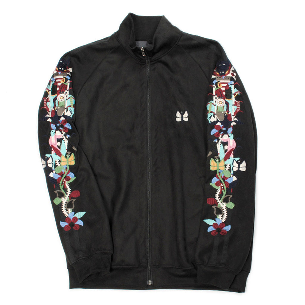 Doublet FW20 Chaos Embroidery Suede Track Jacket, Black