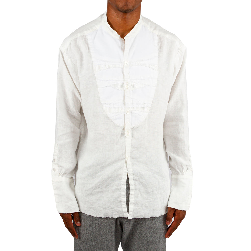 Greg Lauren FW19 White Linen Studio Shirt with Mixed Bib, White