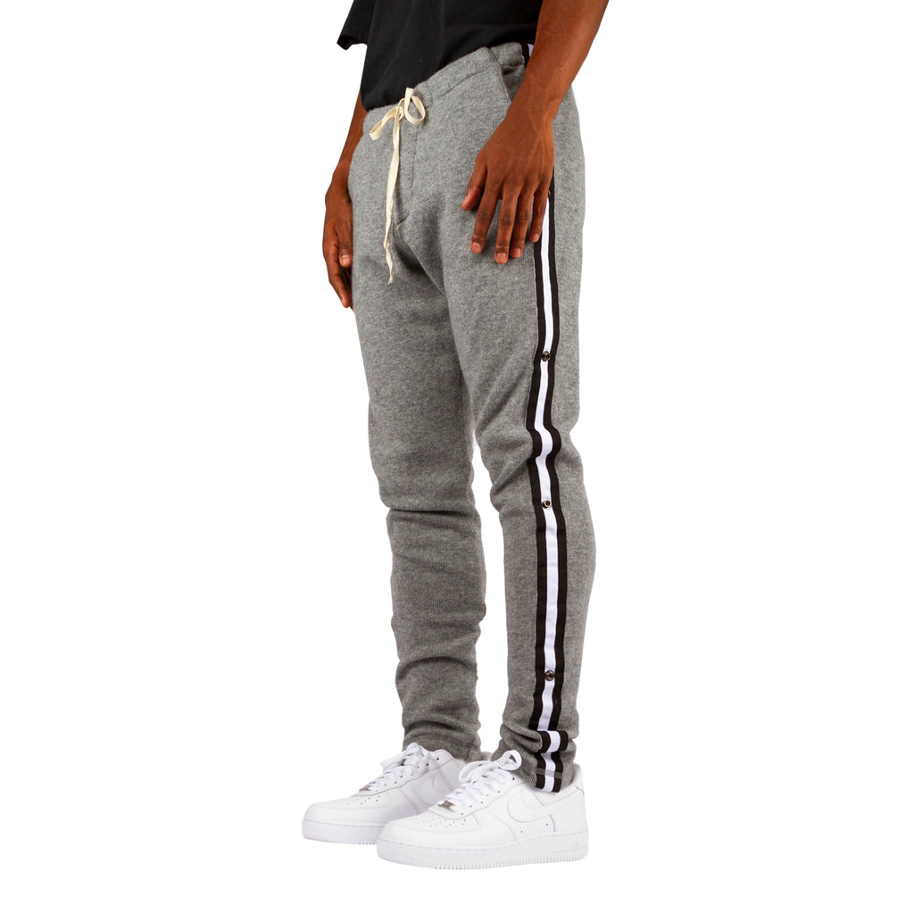Greg Lauren FW19 Grey Cashmere Long Pant With Black Stripe, Grey