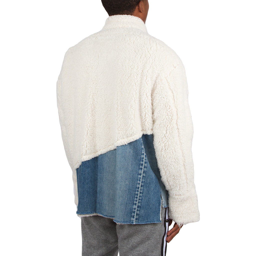 Greg Lauren FW19 50/50 Ivory Sherpa Denim Studio Jacket, Ivory