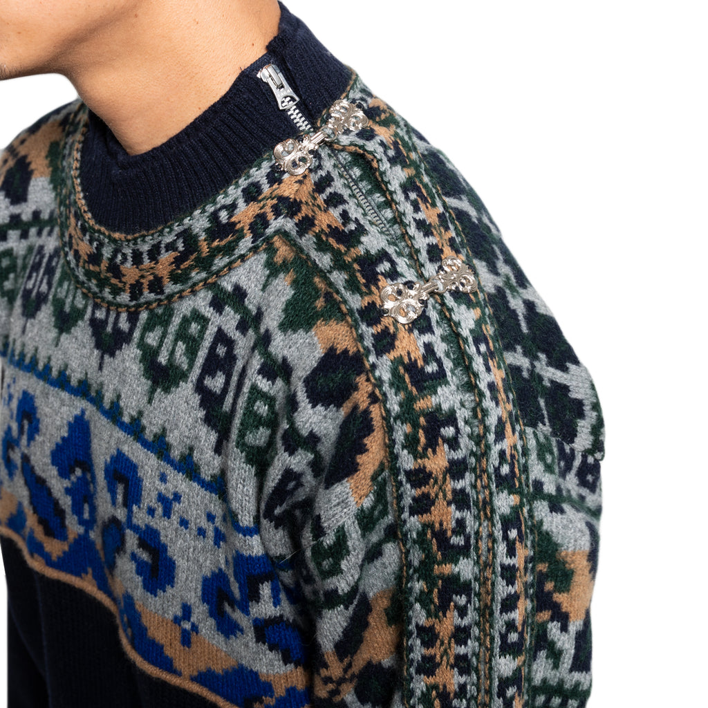 Sacai FW19 Floral Stripe Embroidery Pullover