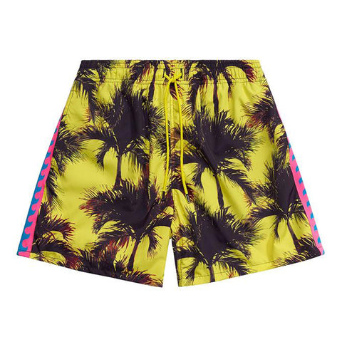 Just Don SS20 Palm Swim Trunk, Black/Yellow