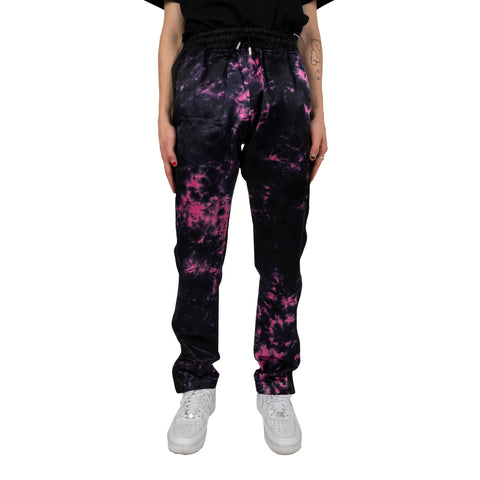 Just Don FW19 Tie Dye Tearaway Pant, Black/Fuschia