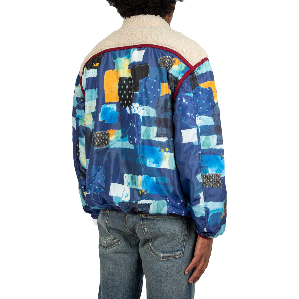 Kapital FW19 Boro Print Nylon x Boa Fleece Disco Blouson, Navy
