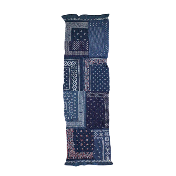 Kapital FW19 Compressed Wool Scarf Bandana Patchwork, Navy
