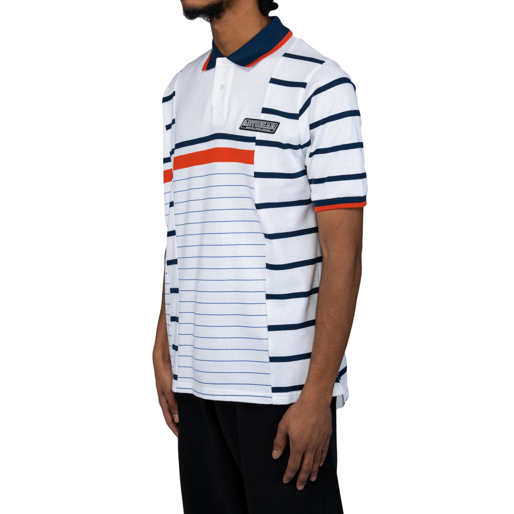 Martine Rose SS20 Stripe Polo, White/Orange/Navy