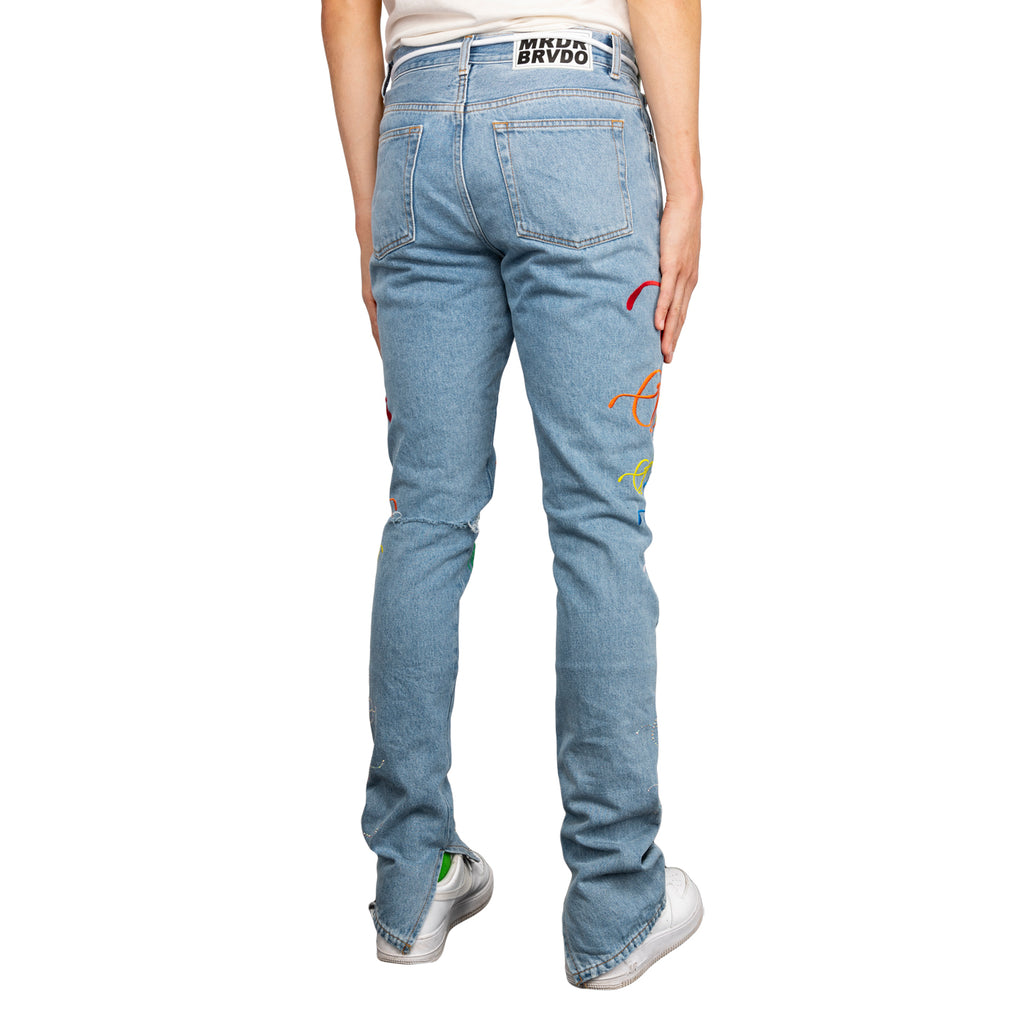 Off-White SS19 Denim Cargo Pant w/ Strass