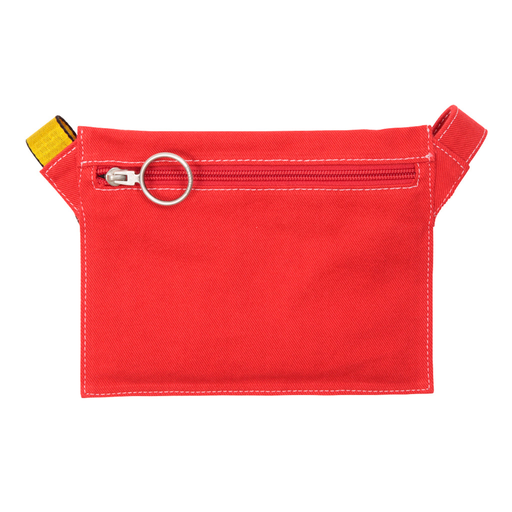 Off-White Denim Flat Crossbody, Red