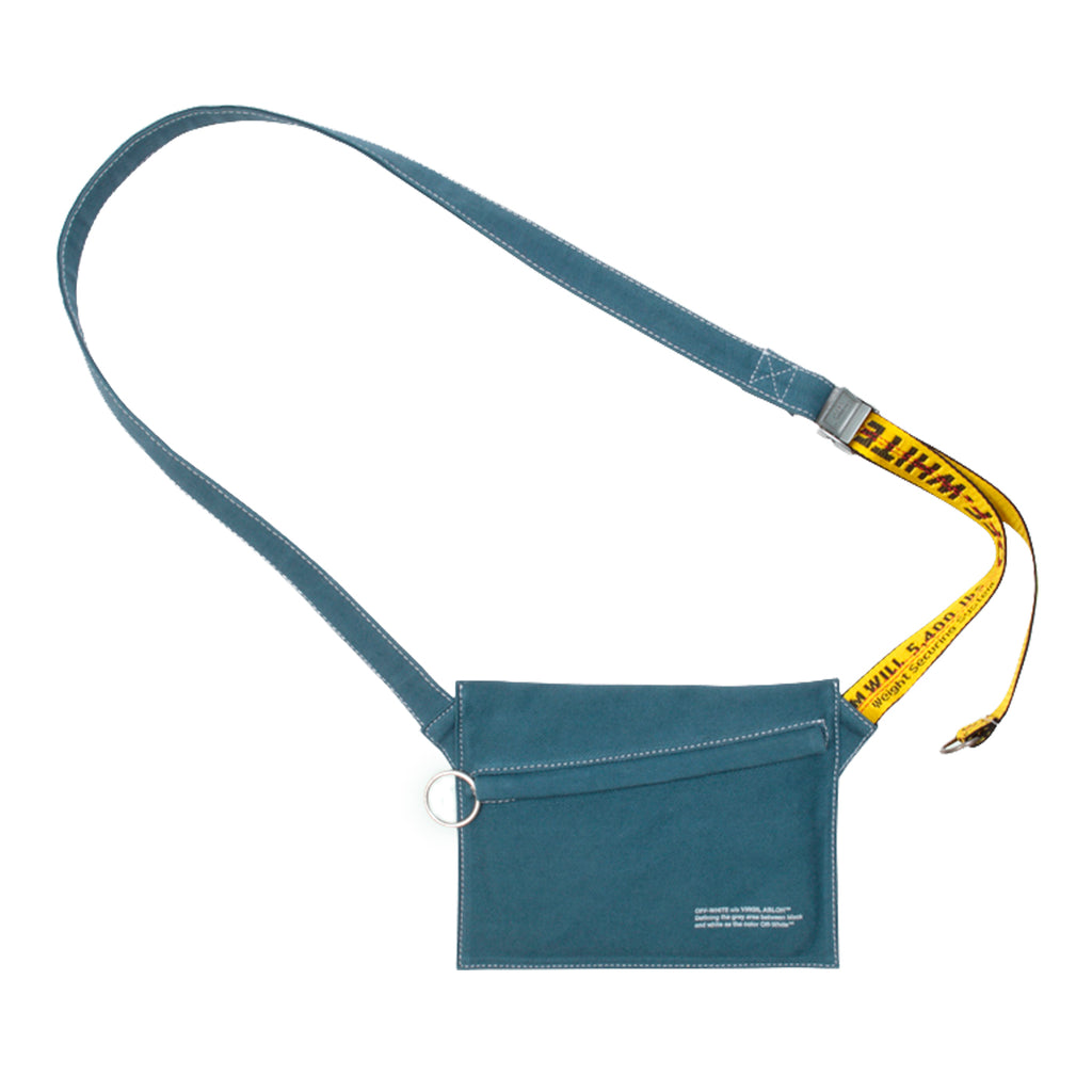 Off-White Denim Flat Crossbody, Petrol Blue