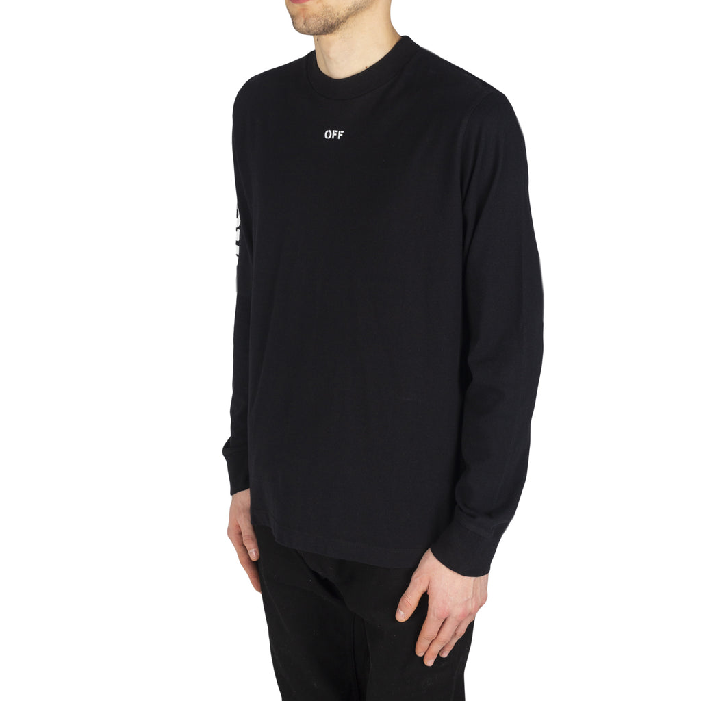 Off-White Diag Skulls L/S Mock Tee, Black