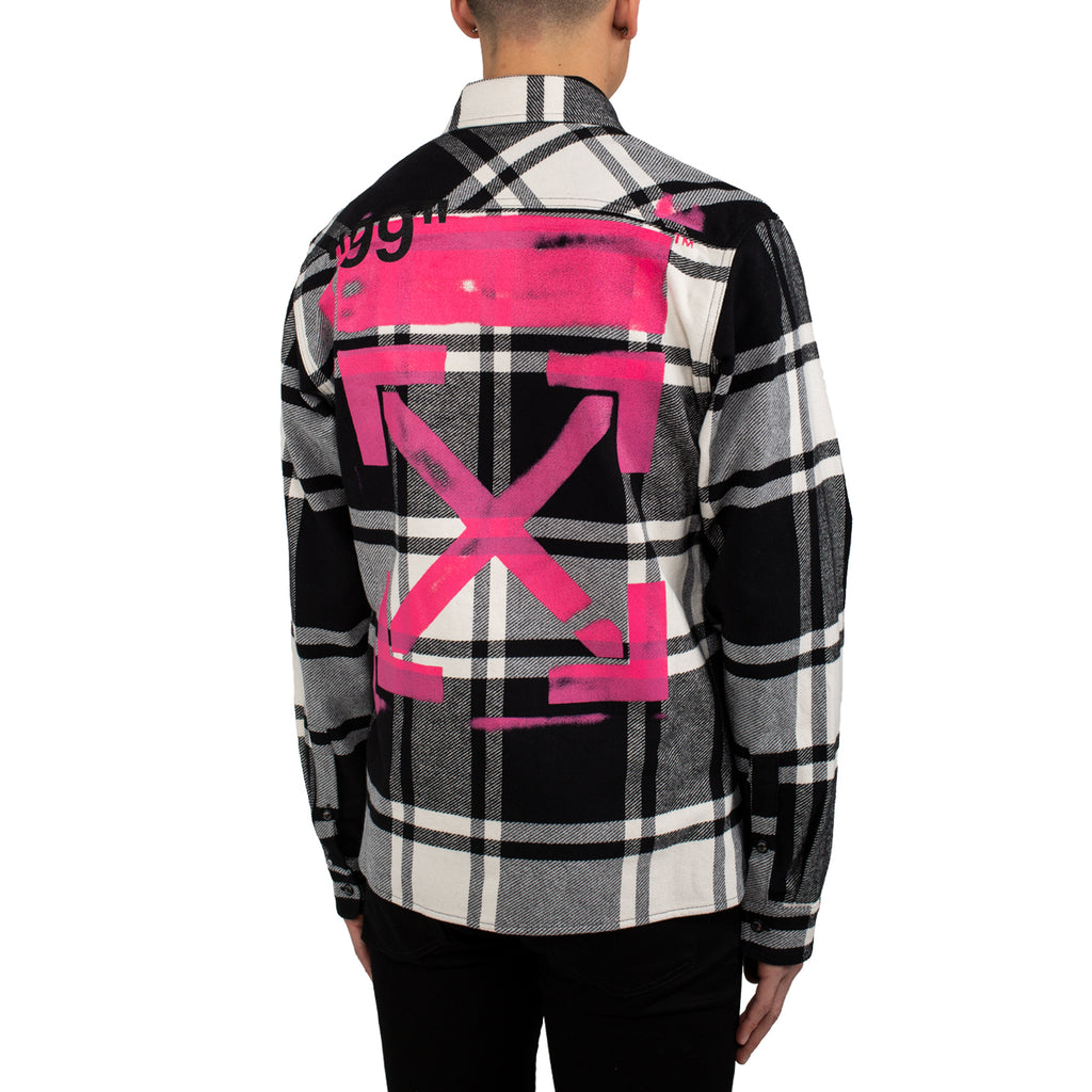 Off White Stencil Flannel Shirt, Blue/Fuchsia
