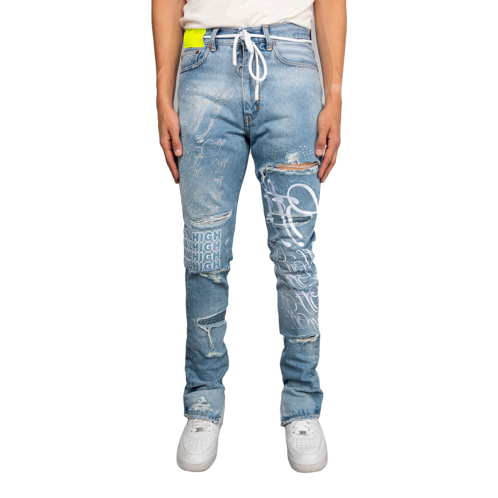 Off-White SS19 Slim Denim Pant w/ Strass