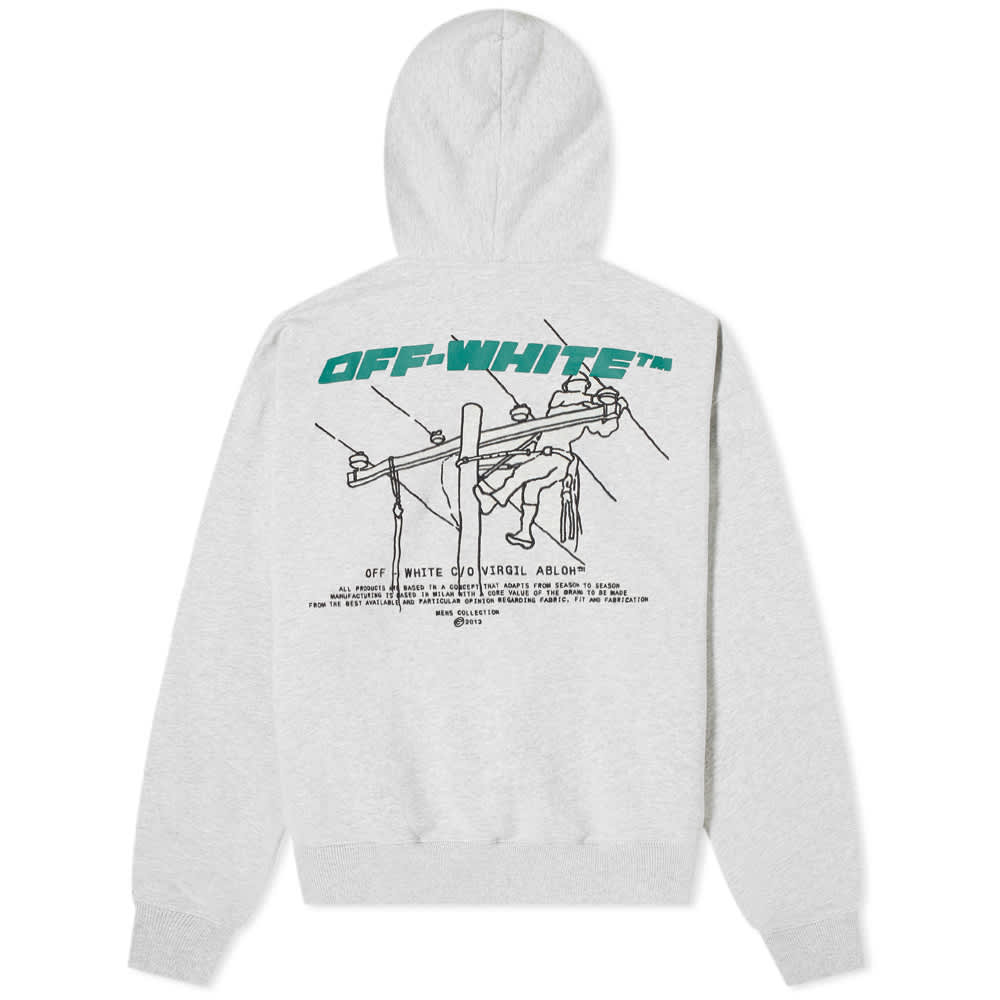 Off-White PF20 Trellis Worker Over Hoodie, Melange Grey/Green