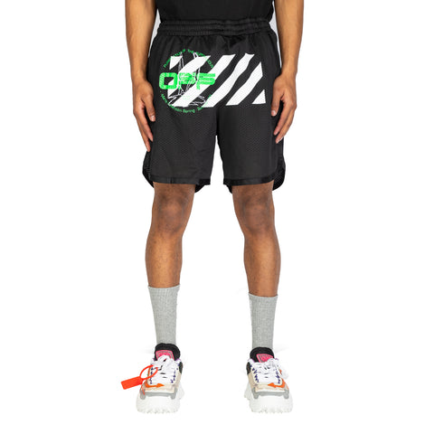 Off-White PS20 Harry The Bunny Mesh Shorts, Black/Brilliant Green