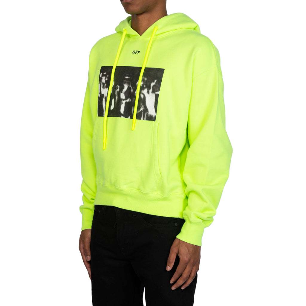 Off-White PS20 Spray Painting Over Hoodie, Fluo Yellow/Black