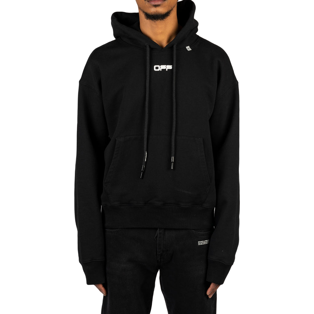 Off-White PS20 Wavy Line Logo Over Hoodie, Black/White