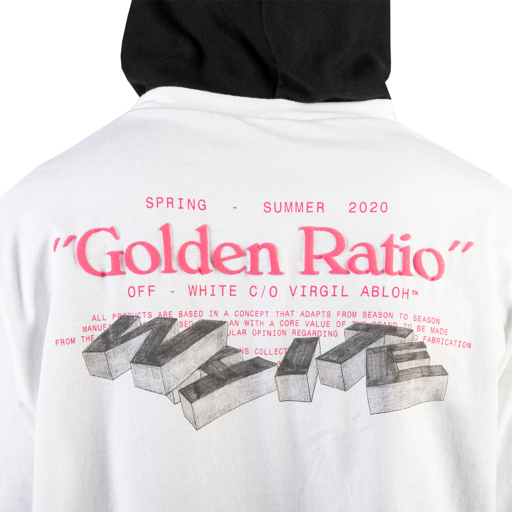 Off-White PS20 Golden Ratio Double Tee Hoodie, White/Multi