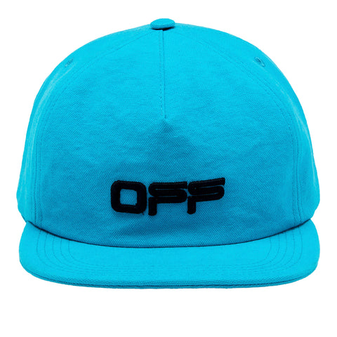 Off-White PS20 Wavy Line Logo 5 Panel Cap, Petrol Blue/Black