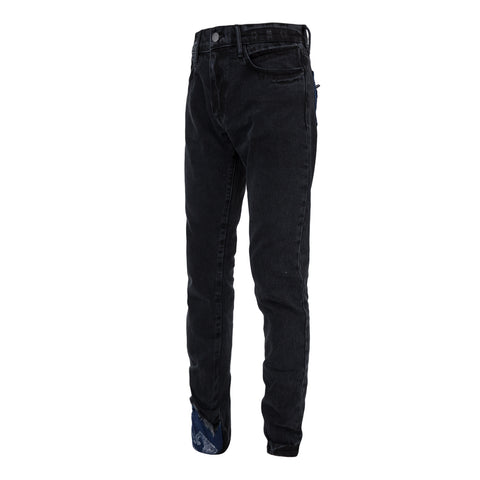 424 DENIM PANT W/ PAISLEY DETAILING (Black/Blue)