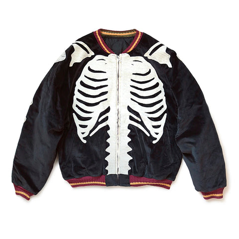 Kapital FW20 Velveteen Bone Embroidery Souvenir Jacket, Black