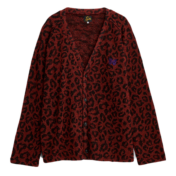 Needles FW20 Leopard Knit V Neck Cardigan, Red