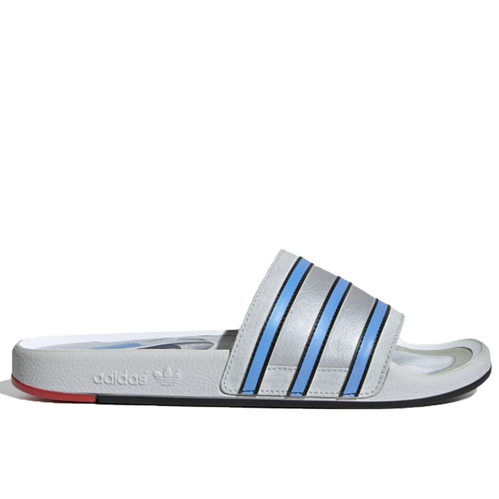 adidas Adilette Premium Slides, Clear Grey/Light Blue