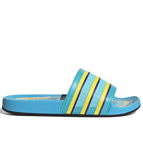 adidas Adilette Premium Slides, Light Aqua/Bright Yellow