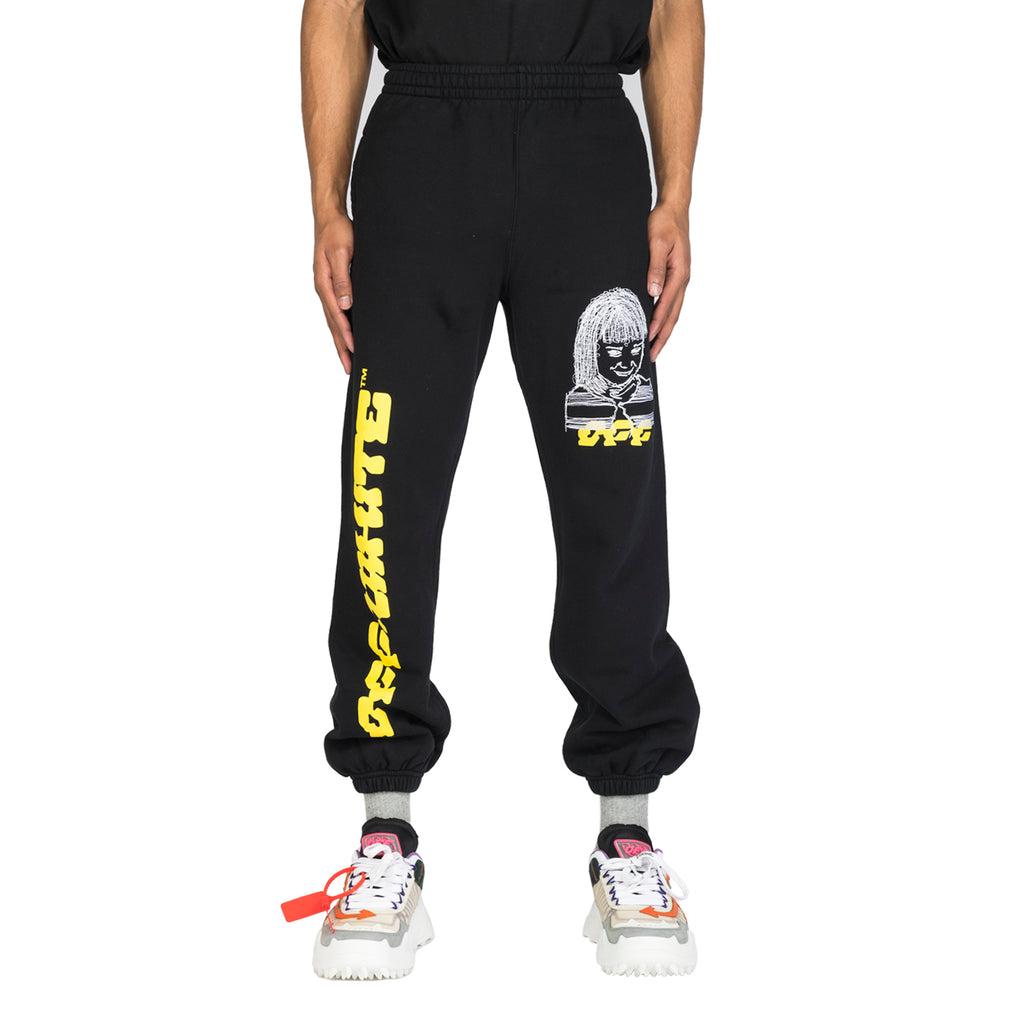Off-White SS20 Disrupted Font Short Sweatpants, Black/Multi