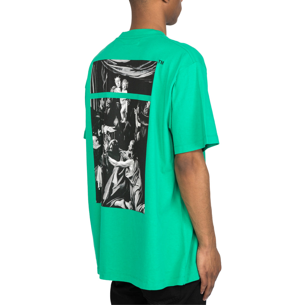 Off-White SS20 Caravaggio Square S/S Over Tee, Mint/Multi