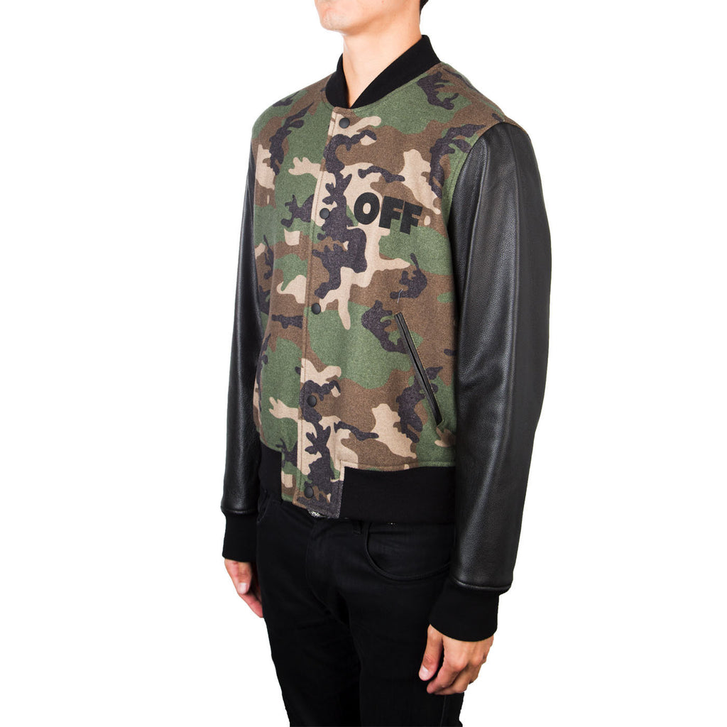 Off-White Leather Camo Bomber (Green)