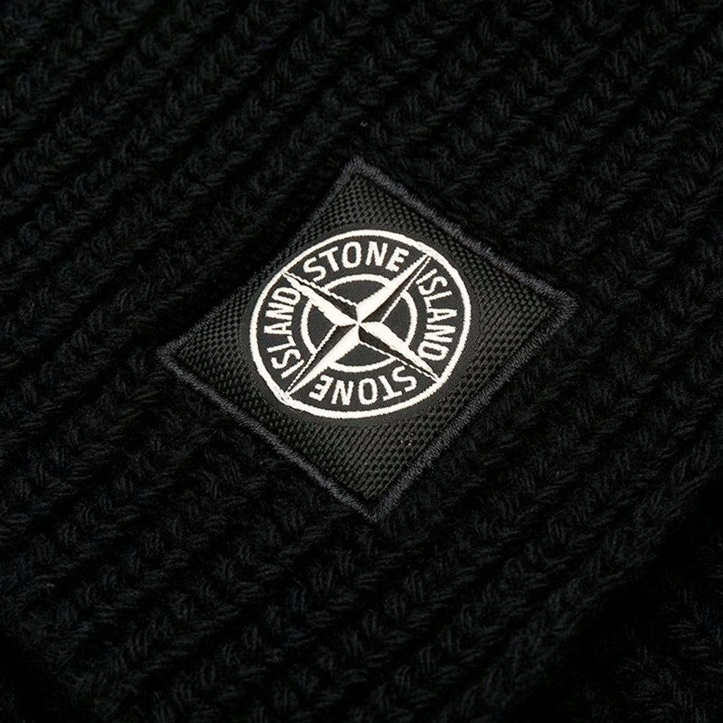 Stone Island Ribbed Knit Scarf, Black