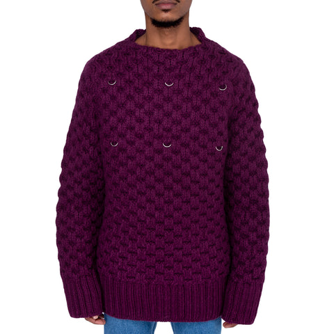 Raf Simons FW19 Honey Stitch Sweater w/ Pleated Collar & 6 Rings, Burgundy