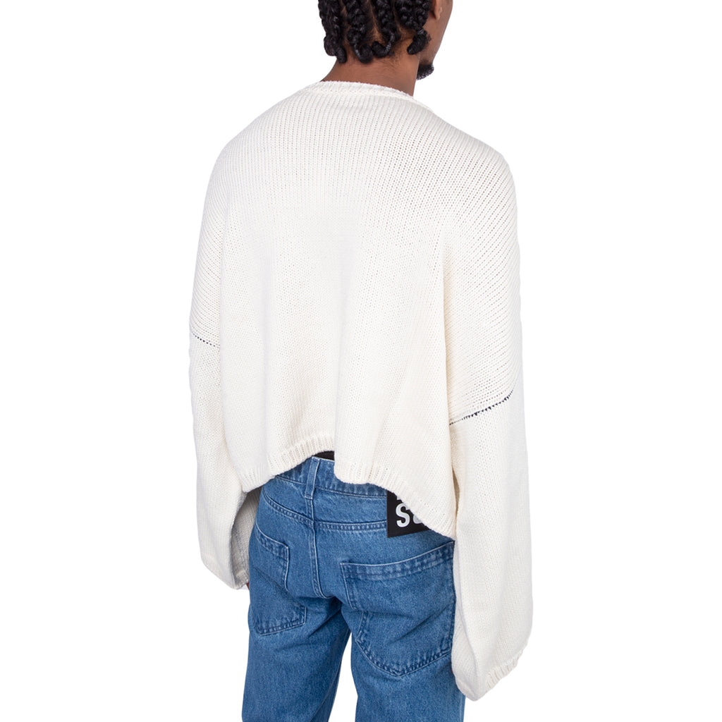 Raf Simons FW19 Cropped Oversized RS Sweater, Off White