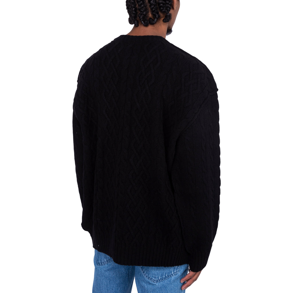 Raf Simons FW19 Printed Aran Knit Sweater, Black