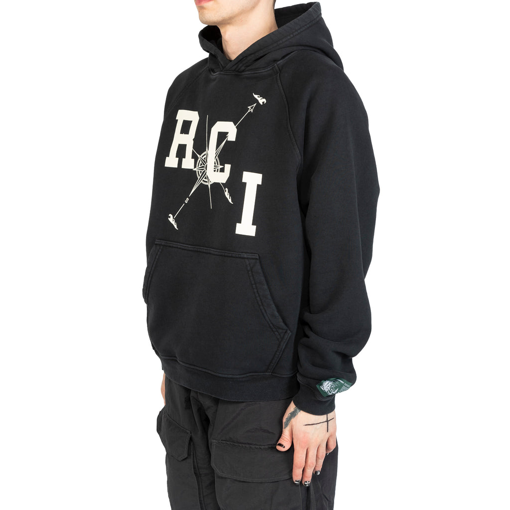 Reese Cooper SS20 RCI Compass Aged Hoodie, Vintage Black