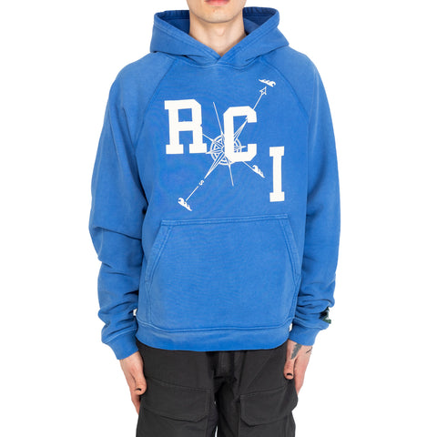 Reese Cooper SS20 RCI Compass Aged Hoodie, Blue