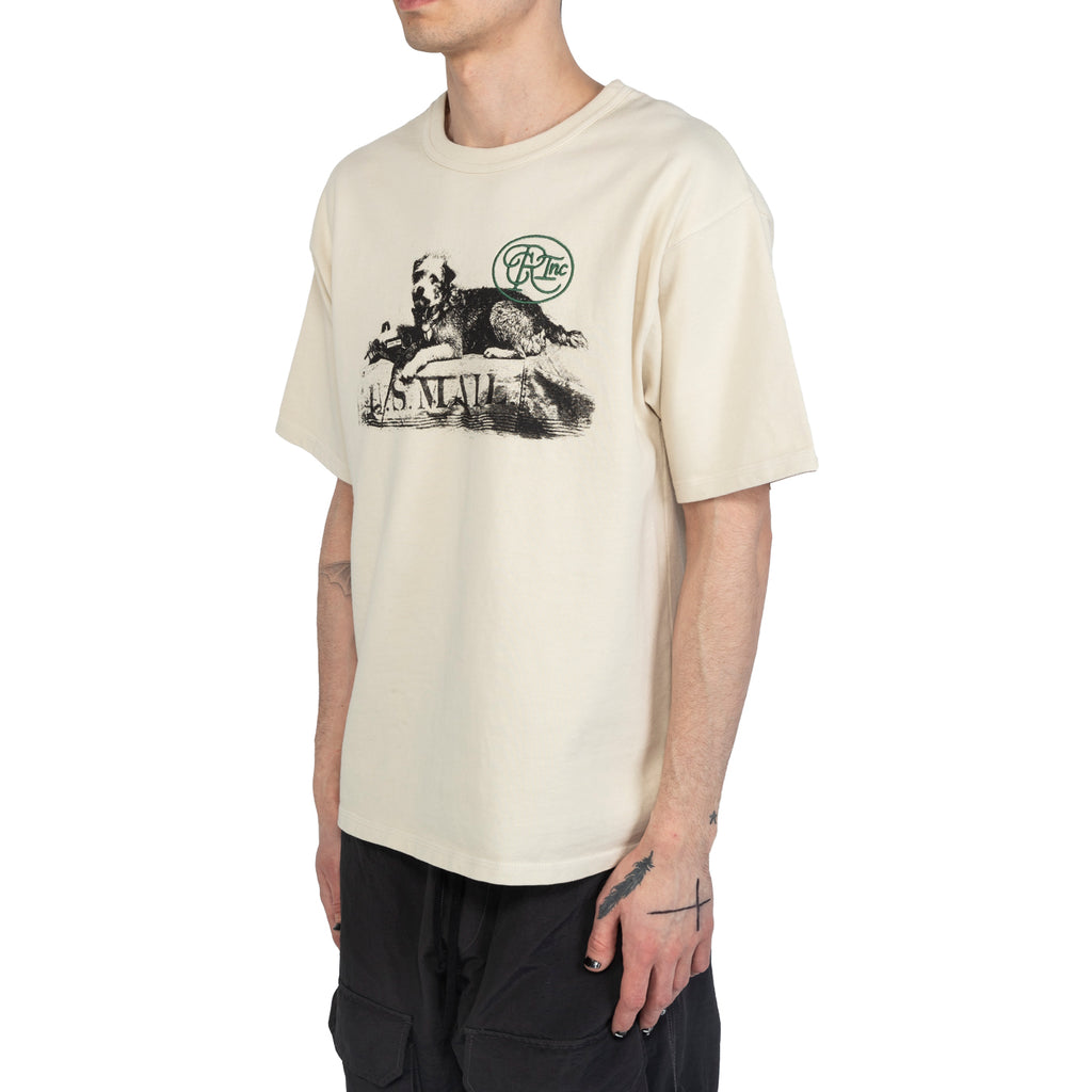 Reese Cooper SS20 U.S. Mail Dog Aged Tee Shirt, Vintage White