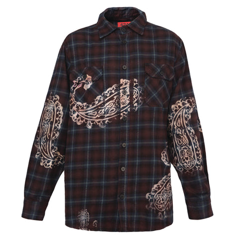 424 Paisley Flannel Button Up Shirt (Plaid)