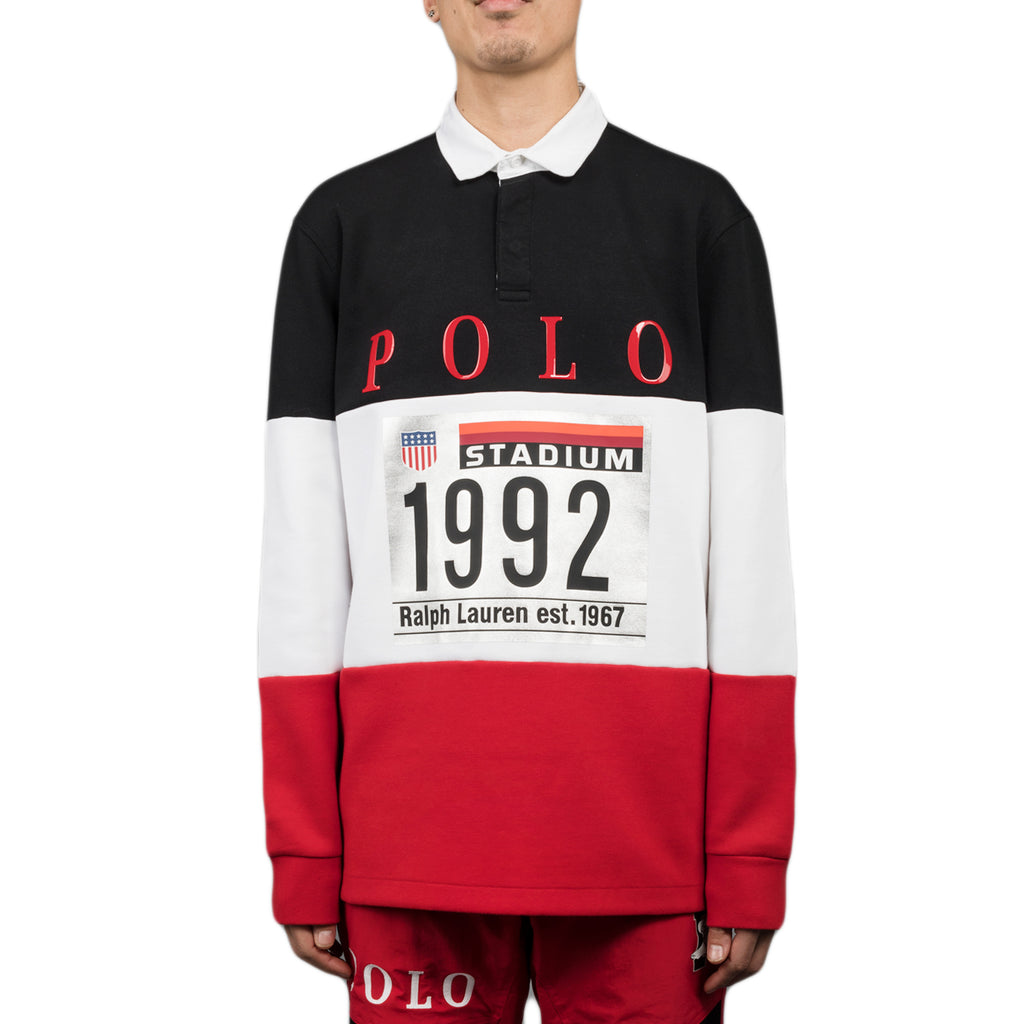 Polo Ralph Lauren Winter Stadium L/S Rugby Polo, White Multi