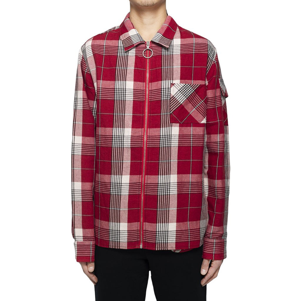Off-White Diag Zip Check Shirt, Red